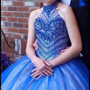 Mori Lee Blue Prom Dress